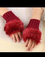 Knitting Fingerless Gloves Women Fashion Lady Casual Autumn Red