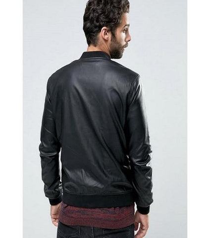 Black Faux Leather Jacket for Men