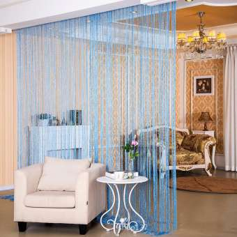 100x200cm Shiny Tassel Flash Sky Blue Line String Curtain Window Door Divider Sheer Curtain Valance Door Treatment Home Decoration