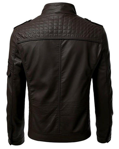 Brown Men Slim Fit Pu Leather Jacket - T11