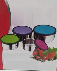 4 Pcs. Colorful Lid Steel Bowls Set