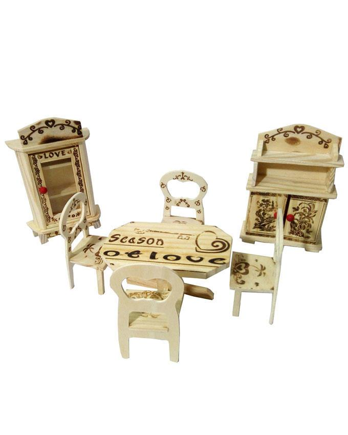 Antique Tiny Wooden Furniture Decoration Set - Brown
