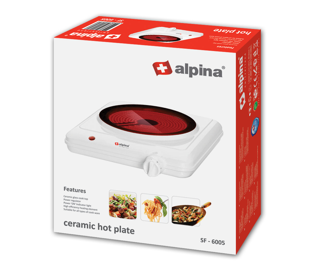 Alpina Glasstop Single Ceramic Hotplate SF-6005