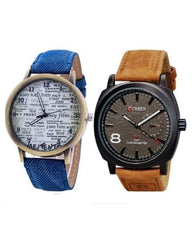 Pack Of 2 Blue & Brown Stainless Steel Wrist Watch For Men. WS-28