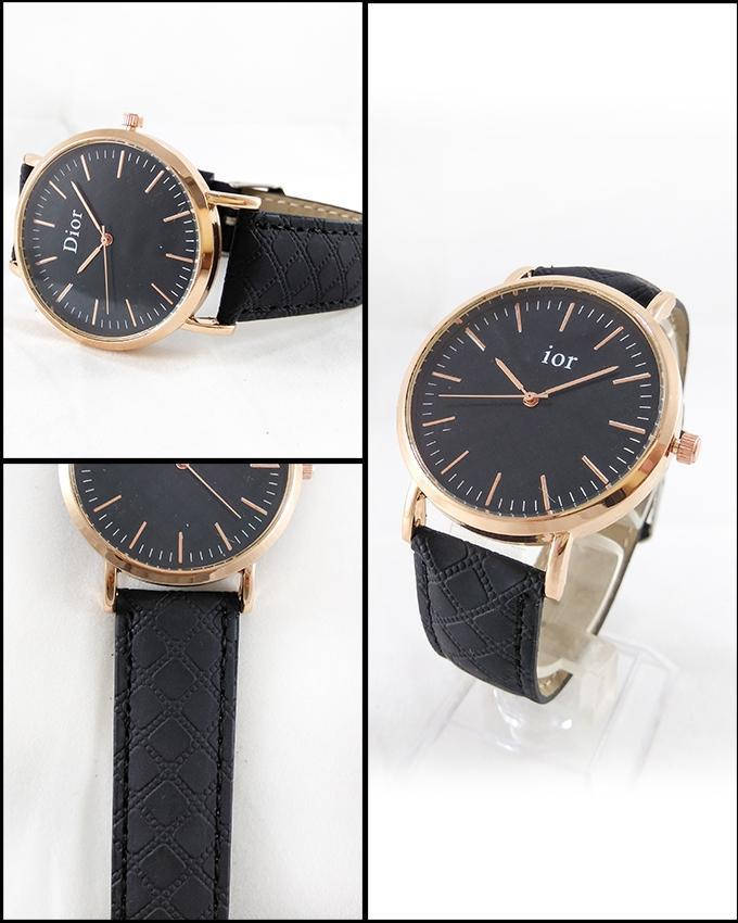 Black Stylish Leather Strap Watch For Men. WS-77