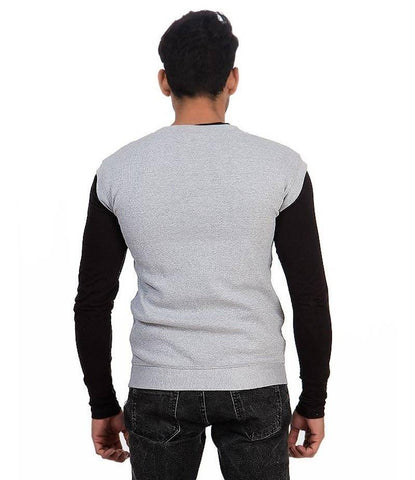 Men's Grey V-Neck Fleece Sweater. ACT-SW18