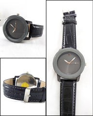 Black Leather Strap Watch For Men. WS-74