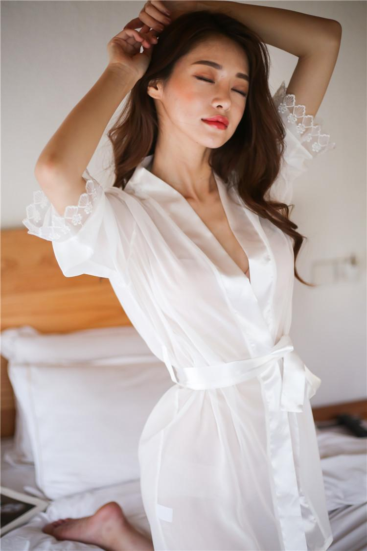 White Satin Silky Soft Laced Sleeve Gown For Women. SD-964