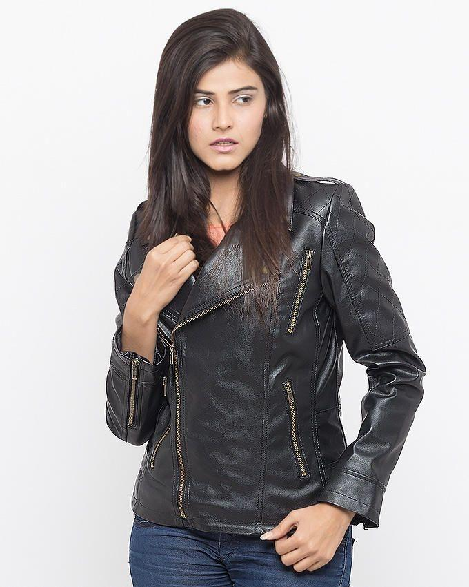 Black - Faux Leather Jacket for Women