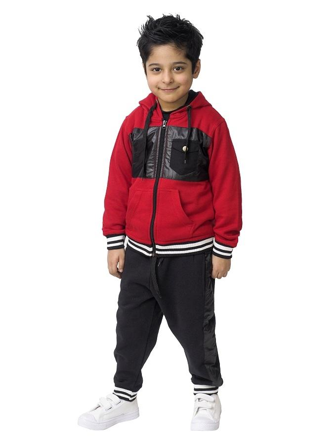 Red Fleece Tracksuit Set For Boys - Red-01