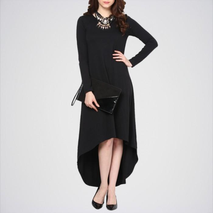 Women's Black High Low Dress. E4H-01