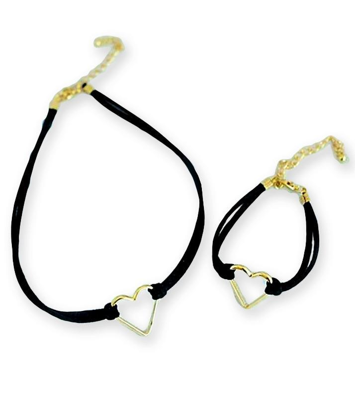 Rhizmal Black & Golden Heart Choker and Bracelet for Women