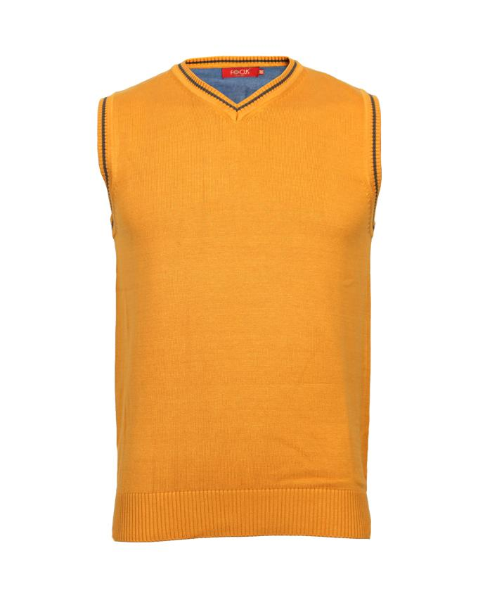 Yellow V-Neck Sleeveless Sweater For Men