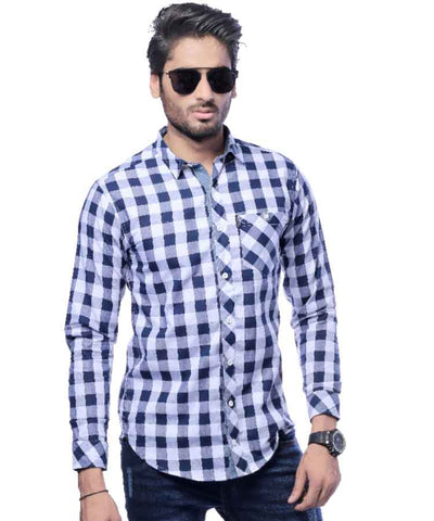 Blue Checkered Shirt W/ Front Pocket