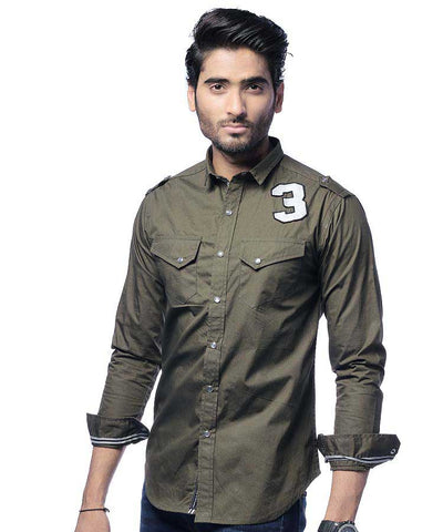 ARMY GREEN SHIRT W/ NUMBER3 BADGE
