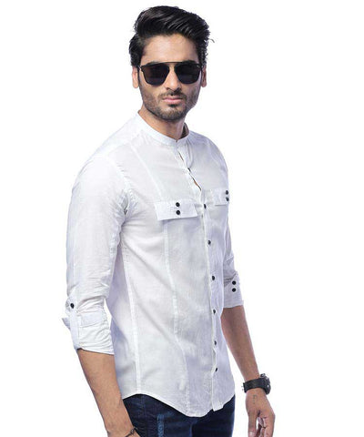 WHITE FLAP SHIRT WITH SLEEVES PLACKET