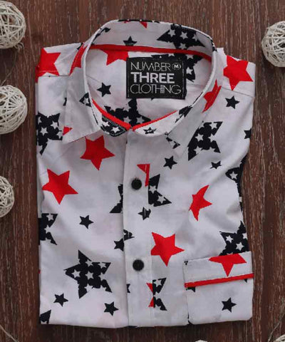 Red and blue star printed shirt