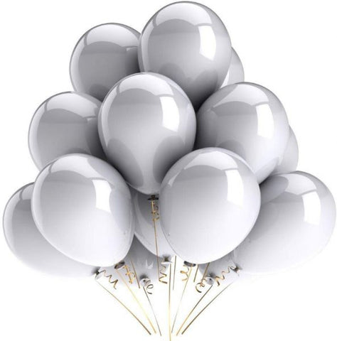 Baloons  50 Pcs Silver Latex AM-Silver Balloon 50