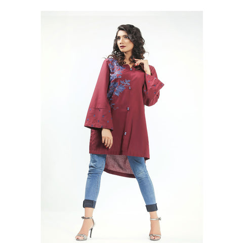 Armas Maroon Sway Lawn Shirt - ARE-ESL-059A