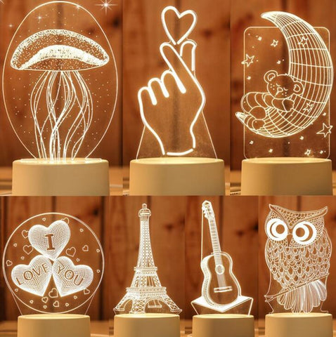 Acrylic Warm White 3D LED illusion Lamp of Bedroom Lamp Living Room Lights Desk Table Decoration Night Light
