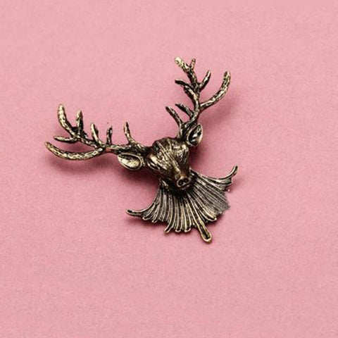 Shopping Mania Antlers Head Brooch