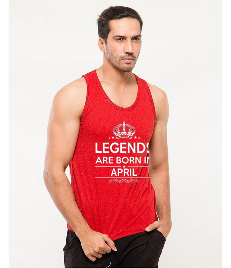 Legends - Men's Red Born In April Printed Tank Top. TTLGND-004