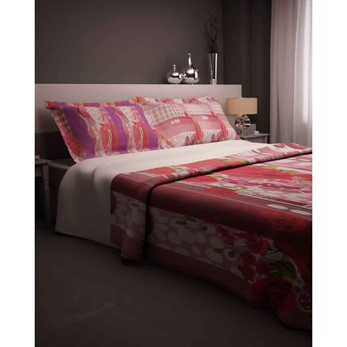 Rose Print Bedsheet With 2 Pillow Covers - Purple