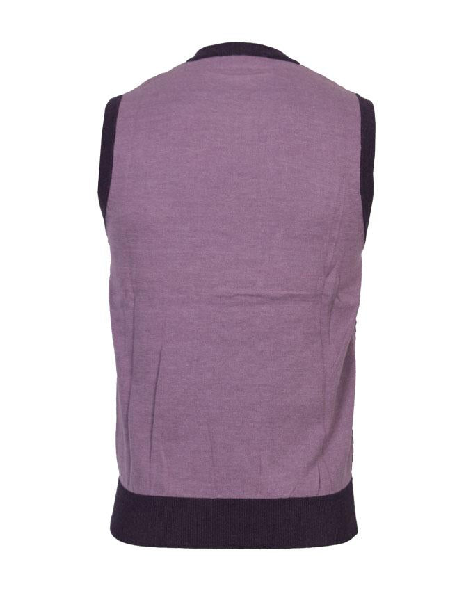 Light Purple V-Neck Sleeveless Sweater For Men