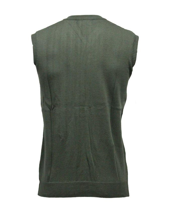 Green V-Neck Sleeveless Sweater For Men