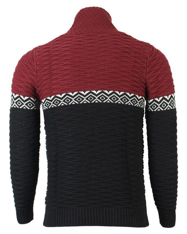 Black & Maroon Knitted Cashmere Full Sleeve Sweater