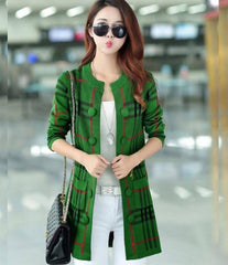 Women's Green Button Down Fleece Checkered Jacket. GRN-CJ