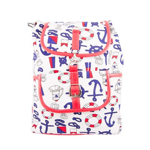 "Anchor Backpack School Bag Notebook Bag Laptop Bag Travel Bag for School and College - 15x17"" - White"
