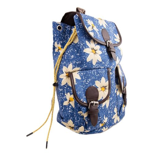 "Flowers Print Backpack School Bag Notebook Bag Laptop Bag Travel Bag for School and College - 15x17"" - Blue"