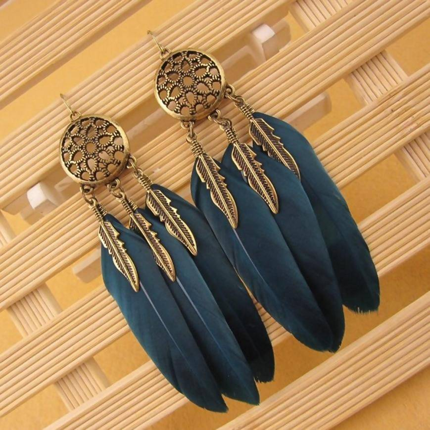 Stylish Long Feather Earrings