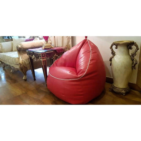 Relaxsit Trio Bean Bag Sofa Chair Leather For Children And Adults Room Furniture Bean Bag - Red