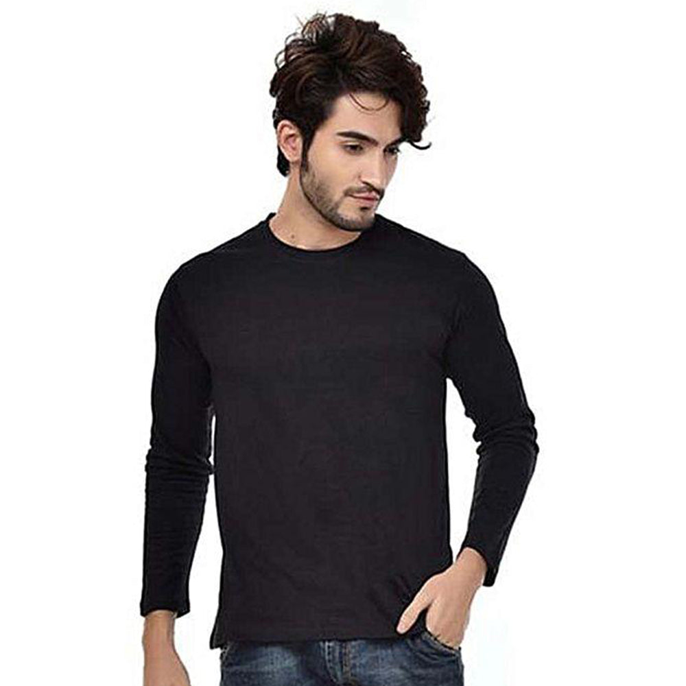 BuySense Black Cotton Full Sleeves Round Neck T-Shirt For Men
