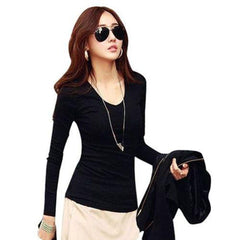 BuySense Black Cotton V-Neck Full Sleeves T-Shirt For Women