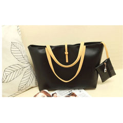 Shopping Mania Black PU Leather Bag