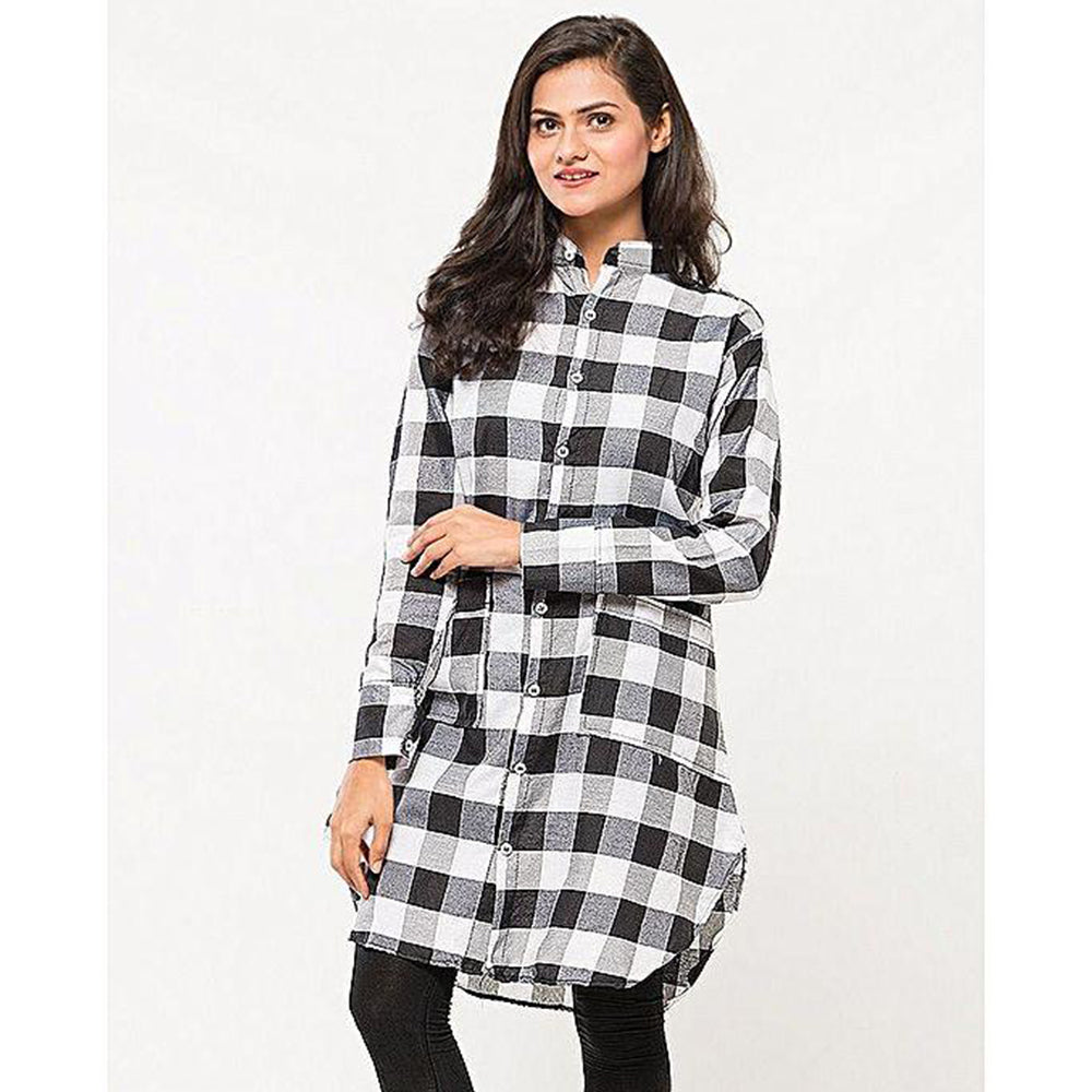 BuySense Black and White Trendy Checker Tunic For Women