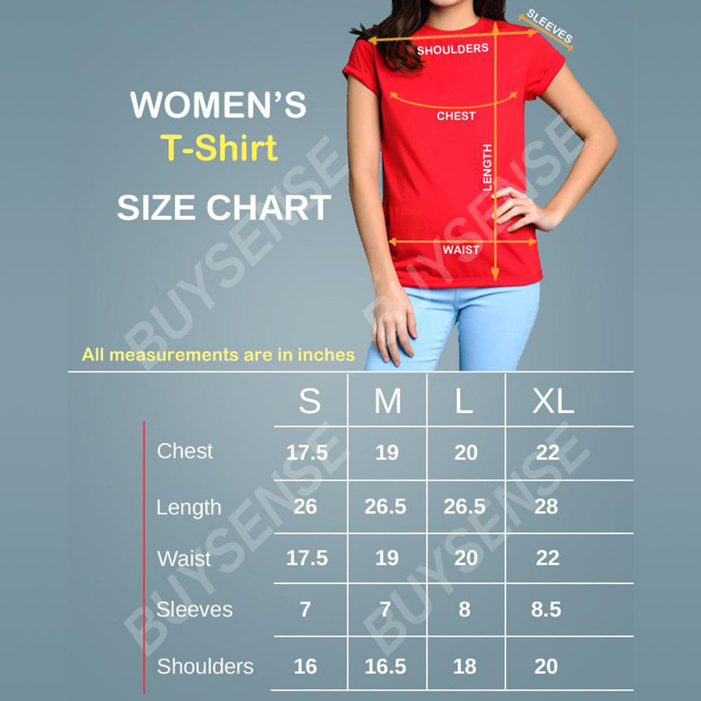 BuySense Blue Cotton Okay Printed T-Shirt For Women