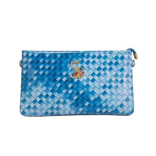 Blue Leather Check Design Clutch With Long Belt For Women