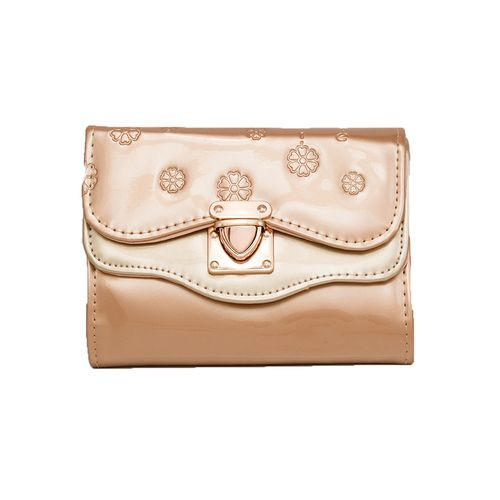 Golden Leather Floral Short Clutch With Golden Long Chain For Women