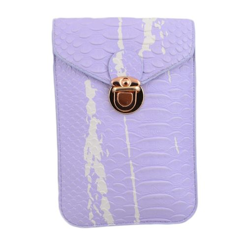 "Leather Long Belt Clutch And Short Purse For Women - 7X5"" - Purple"