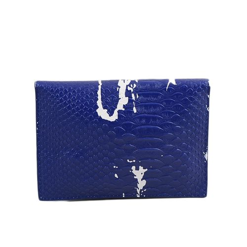 "Leather Long Belt Clutch And Short Purse For Women - 7X5"" - Dark Blue"
