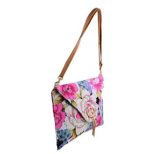 "Flowers Clutch for Women With Long Belt - 10x8"" - Beige Belt"
