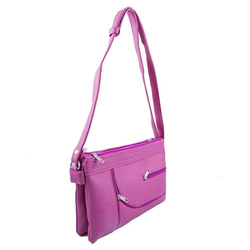 Women's Long Belt Clutch Purse Bag Shoulder Handbag - Pink