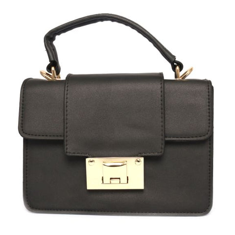 Leather Handbag (8 Inch Height and 6 Inch Width) - Black