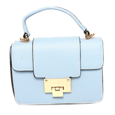 Leather Handbag (8 Inch Height and 6 Inch Width) - Blue