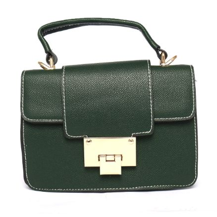 Leather Handbag (8 Inch Height and 6 Inch Width) - Green