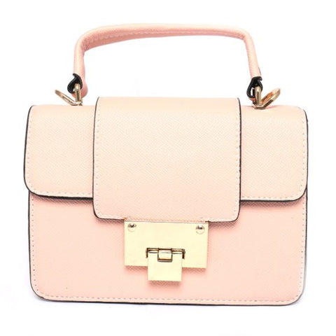 Leather Handbag (8 Inch Height and 6 Inch Width) - Pink